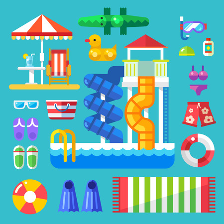 Set the water park visitor. Summer vacation by the pool or on the beach. Swimming lessons and fun water sport. Vector flat illustration Çizim