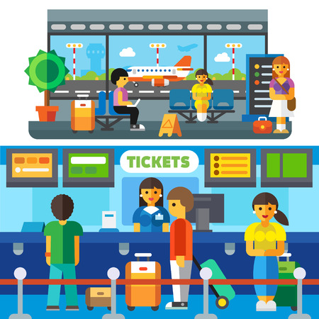airplane ticket: Check at the airport, travelers waiting to plane in the waiting area. Tourists with suitcases. Transfer, happy arrival home. Vector flat illustration Illustration