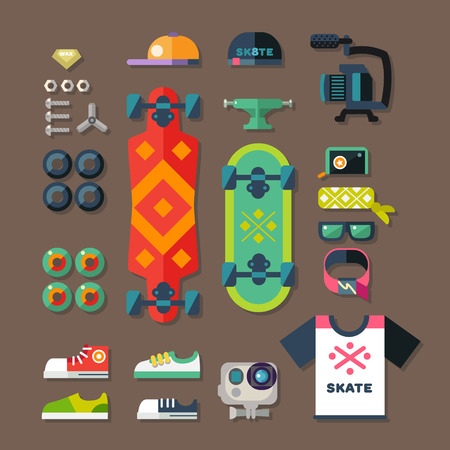 cartoon board: Skateboarder set. Stuff and clothes for riding on the board. Extreme photo and video equipment. Summer activities. Vector flat illustration