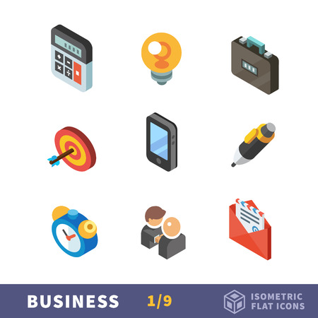 Isometry business flat icon set. Business situations and business items. Setting and achieving goals