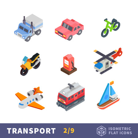 Isometry transport flat icon set. All modes of transport for travel and reach the destination. Vector cars, plane and ship