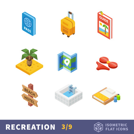 sand beach: Isometry travel flat icon set. Vector traveler set in a warm country during the holidays. Summer vacation on beach resort Illustration