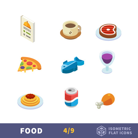 Isometry food flat icon set. Food and drink. Restaurant and cafe menu