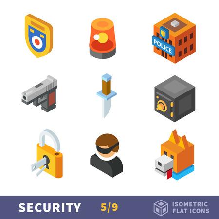 perro policia: Seguridad isometría conjunto de iconos plana. Accesorios del vector para la seguridad de los trabajadores, guardias y policías. La lucha contra la delincuencia