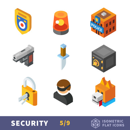 Isometry security flat icon set. Vector accessories for workers security, guards and police. The fight against crime Illustration