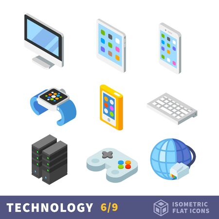Isometry technology flat icon set. Technological innovation in various fields - household appliances and different devices for working, fun and communication