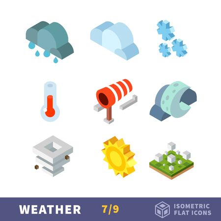 rainy season: Vector isometry weather flat icon set. Weather choice for every day, in any season.