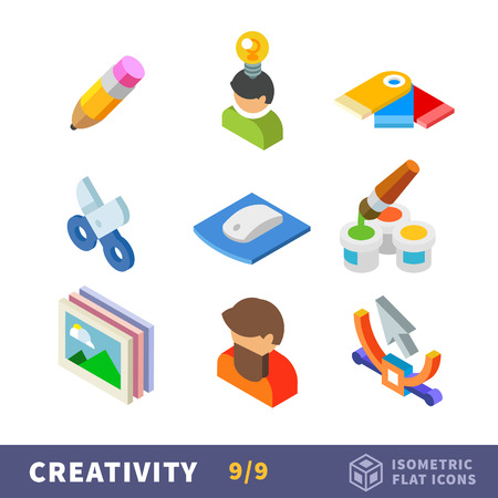 Isometry creative flat icon set. Set the creator for employment by art. reative tools and materials for hobby, creative people in favorite profession