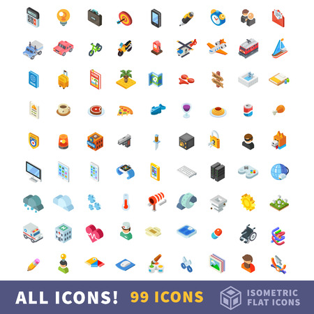 Different icons in big isometry vector flat set. Set of business, transport, recreation, food, security, technology, weather, medicine, creativity themes.