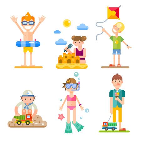 kite: Children on summer vacation, their activities and fun on the holidays. Food, swimming, kites, games. Vector flat illustrations of different characters, boys and girls