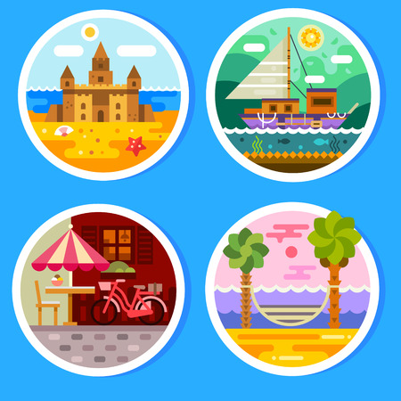 sailing: Summer landscapes in round badges. Views of the beach: sandcastle and hammock near the ocean. Yacht in the free voyage. Summer cafe in the city center. Vector flat illustration