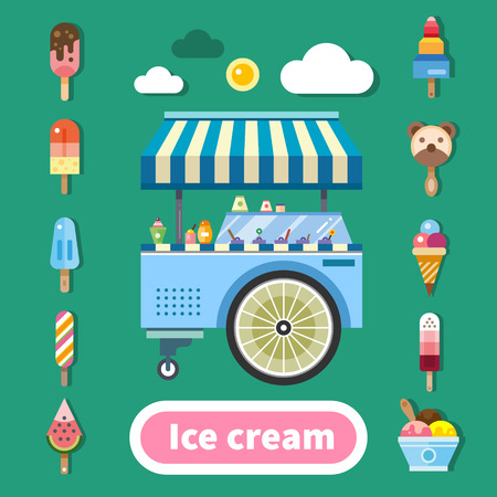 Ice cream trolley on a hot sunny day. Delicious sweets in assortment. Kinds of ice cream. Color vector flat illustration Ilustracja