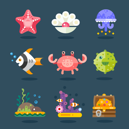 and marine life: Marine icon set. Residents of sea fauna, underwater life. Fish, starfish, jellyfish, chest of gold, algae and attributes. Vector flat illustration Illustration
