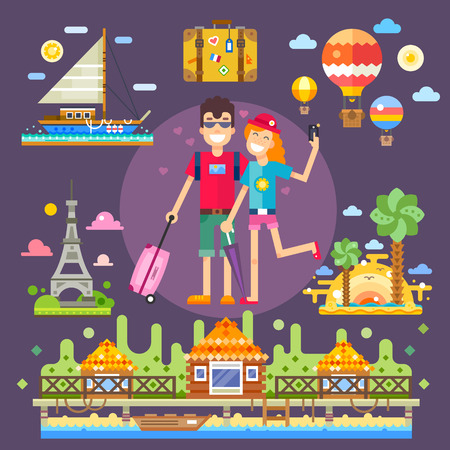 cartoon kiss: Couple in love, travels the world. Pleasant romantic trip to the best attractions, memories of youth. Vector flat illustration