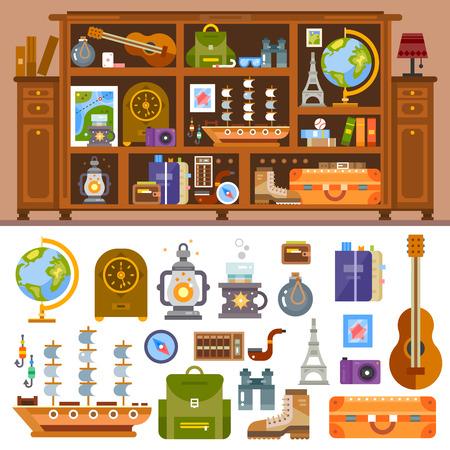 여행에서 책과 기념품 여행자의 찬장. 카메라, 사진, 세계, 조각상, 조개, 기타, 램프, 나침반, 가방. 벡터 평면 그림