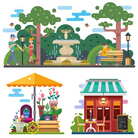 여름 시간에 아름 다운 도시 공간 : 꽃 가게, 카페 야외. 도시 공원에서 개를 산책, 벤치에 휴식. 사람들 문자. 벡터 평면 그림