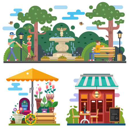 Beautiful city space in summer time: flower shop, cafe outdoor. Walking the dog in the city park, rest on the bench. People characters. Vector flat illustration