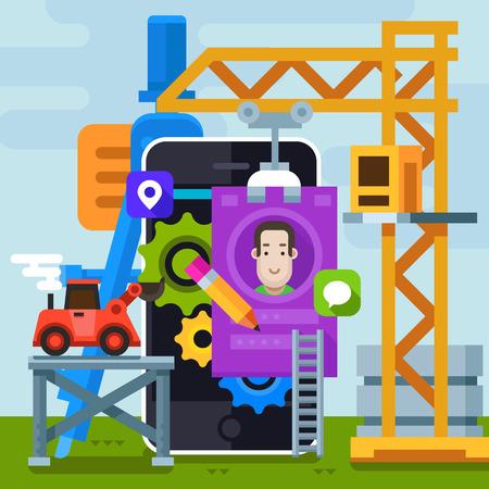 Website creation and design. Development a working application. Vector flat illustration