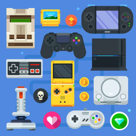 The gamer icon set: computer or mobile game. Game console, joystick and different devices. Vector flat icon set