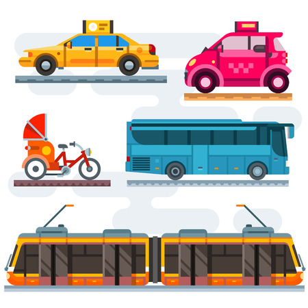 transport: Stadtverkehr eingestellt. Öffentliche Verkehrsmittel: Taxi, Bus, U-Bahn, Zug. Personal: Auto, Fahrrad, Moped, Motorrad. Vector Flach Illustrationen