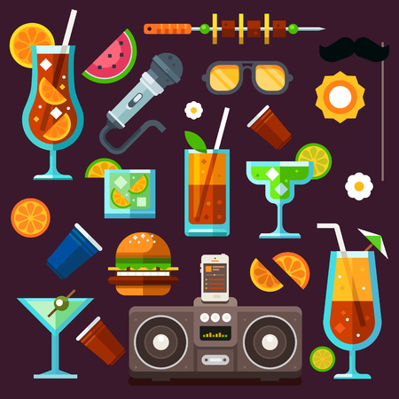 relaxation: Party icon set, summer fun, cocktails and celebrations. Methods to relax: party, music, food, travel, entertainment. Vector flat icon set