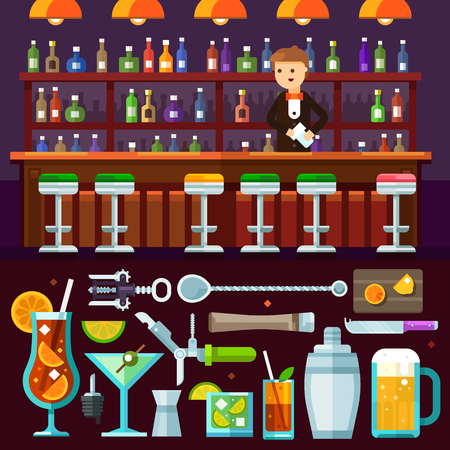 Evening relaxing, alcoholic party at the bar. Barman serves. Delicious cocktails, tools for coctails making, drinking glasses. Vector flat illustration