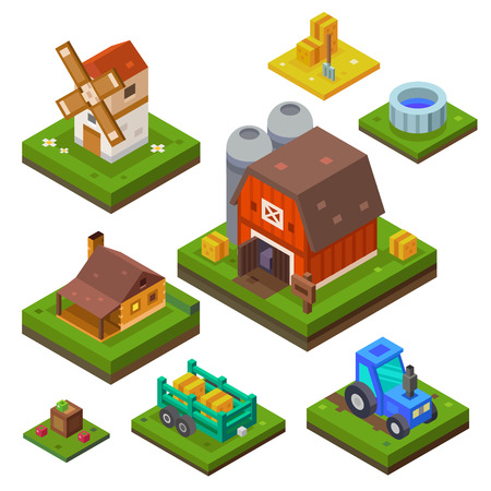Farm set in isometric view. Attributes for agriculture in the countryside. Farm building. Farmhouse, mill, country house and a tractor. Vector flat illustration Ilustração