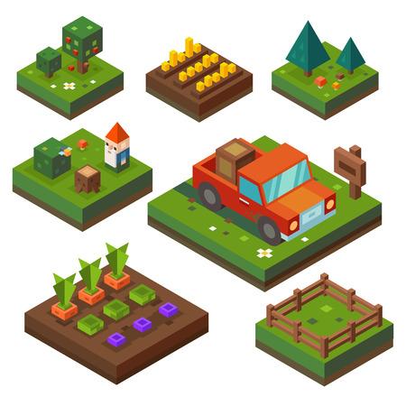 수확 시간에 농장. 야채 정원과 등거리 변환 농업. 목장, 야채, 트럭, 숲. 벡터 평면 그림