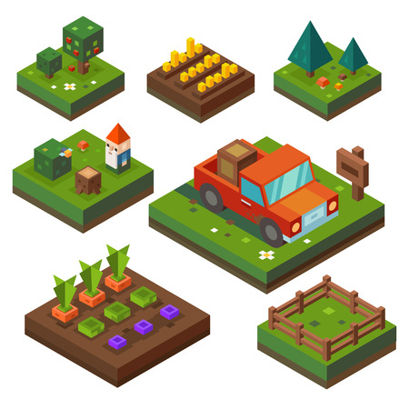 harvest time: Farm, at harvest time. Vegetable garden and agriculture in isometry. Paddock, vegetables, truck, forest. Vector flat illustration Illustration