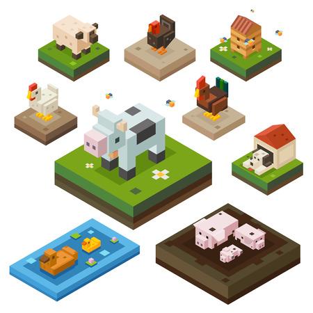 animales de granja: Animal del campo de color isometr�a establecido. Los animales dom�sticos de la ganader�a. Vaca, pollo, pato, gallo, perro, pavo. Vector ilustraci�n plana Vectores