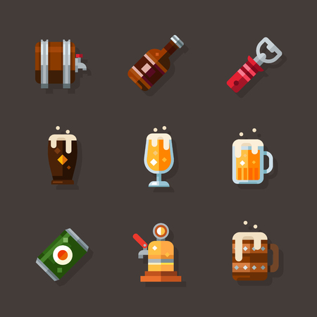 Beer icon set. Draught, canned, bottled beer. Beverage for men in the brewery and bars. Vector flat illustration Illustration