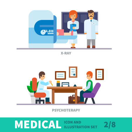doctors and patient: Medical illustration of the reception at the doctor - consultation and examination. Doctors monitor the health of the patient in the clinic. Patient at a reception at the psychotherapist. Vector flat illustration