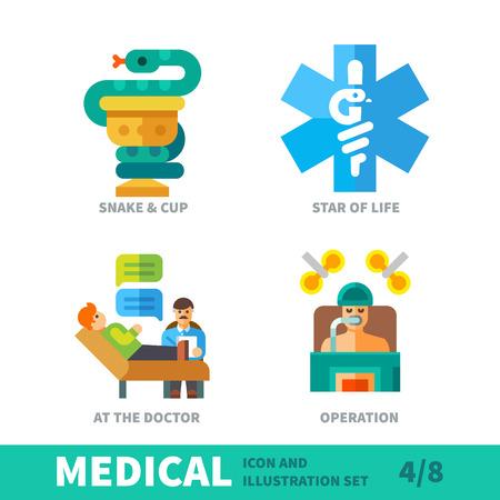 emergencia medica: Iconos m�dicos, s�mbolos de la salud, la situaci�n en la terapia humana en icono de m�dico y de la ilustraci�n conjunto de vectores