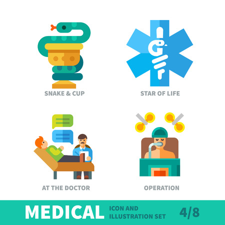 Medical icons, symbols healthcare, situation in human therapy in medical icon and illustration vector set Illusztráció