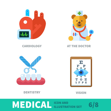 Branches of medicine: at the reception of each doctor. Medical vector flat illustrations and Icons