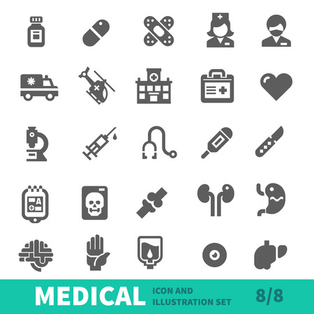 Medical icons, symbols healthcare, organs and body parts in medical icon vector set