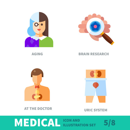 brain aging: Surveys of health in old age. Preventive examinations of the brain, genitourinary system in medical icon and illustration vector set Illustration