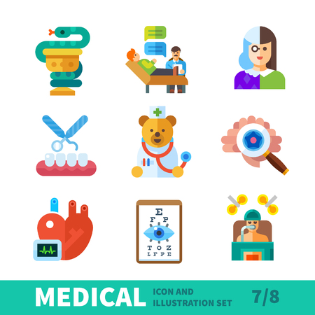 Medical icons, symbols healthcare, treatment of diseases of different organs in medical icon vector set