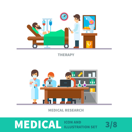pharma: Medical illustration of the recovery after fracture clinic. Department of surgery, plastered after surgery in bed, medical research in the laboratory, Vector flat illustration and icon set