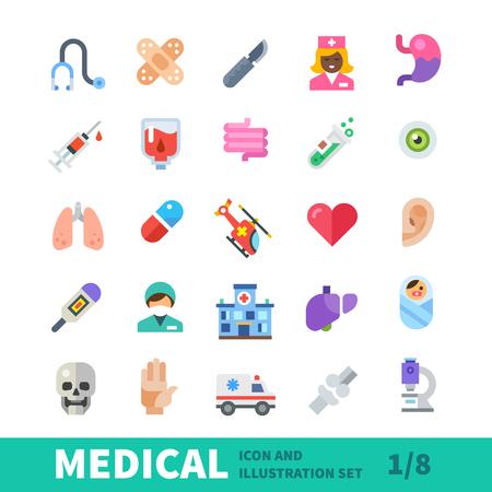 Ikona medycznych płaskim ustawić kolor. Artykuły naukowe Zdrowie, urządzenia do konserwacji. Atrybuty przychodnie i szpital w branży medycznej, władze