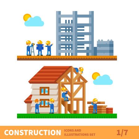 건설입니다. 집 건물의 프로세스. 공학 측정, 건축 작품, 건축업자는 집을합니다. 벡터 평면 그림