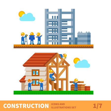 construction industry: Construction set. Process of building the house. Engineering measured, architectural work, builders make a house. Vector flat illustration