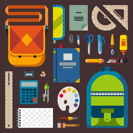 calculadora: De vuelta a la escuela. Bolsa alumno o estudiante. Accesorios Formación: lápices, bolígrafos, cuadernos, regla, artículos de papelería, libros de texto. Vector ilustración plana