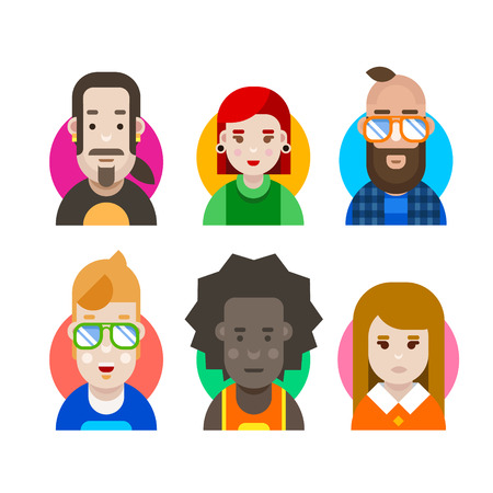 workers: Creative crew. People characters for creating original art products. Men and women, girls and boys avatars. Design studio workers, young modern people in color vector flat illustration