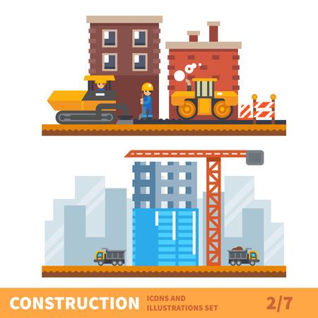 constructor: Conjunto de construcción. Los trabajadores que construyen una casa, ponen asfalto. Tractor, grúa, camión. Vector ilustración plana
