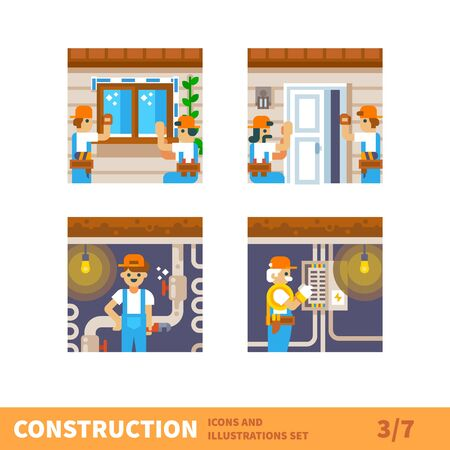 windows home: Construction set. Home repairs. The builders installed windows and doors. Plumbers repair plumbing. Vector flat illustrations