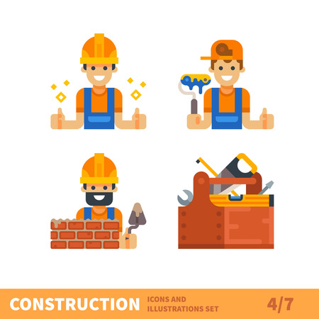 contractor: Construction set. Work for builder or foreman: painting, building, bricklaying. Tools for construction and repair. Vector flat illustration
