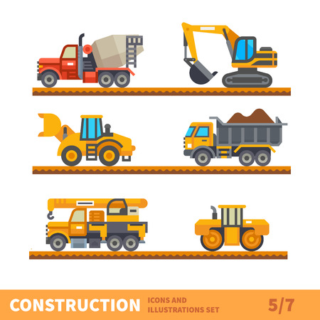 machinery: Construction set. Transport for construction. Transport of gravel, concrete workpiece, asphalting. Vector flat illustration
