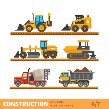 Construction set. Transport and tool for construction. Transport of gravel, concrete workpiece, asphalting. Vector flat illustration Ilustracja