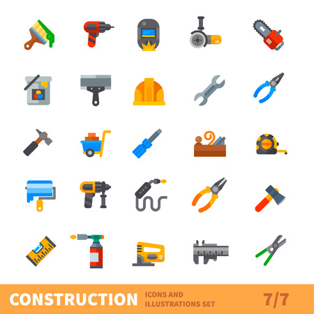 Construction set. Big building icon vector set. Tools for painting, repair, welding, joinery in new or old house. Vector flat illustration